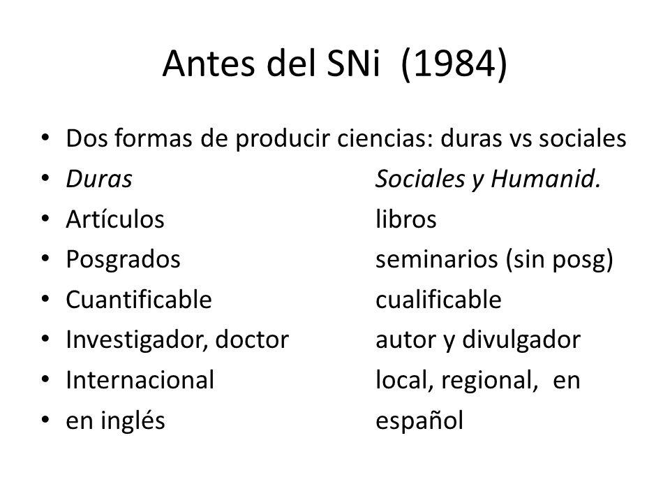 Antes del SNi (1984) Dos formas de producir ciencias: duras vs sociales DurasSociales y Humanid.