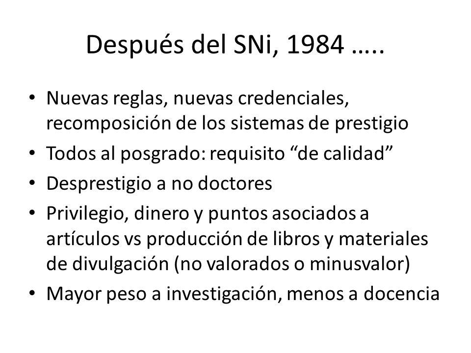 Después del SNi, 1984 …..