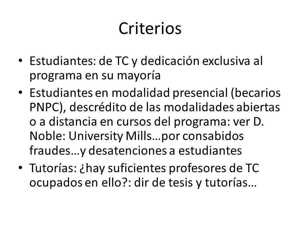Criterios Estudiantes: de TC y dedicación exclusiva al programa en su mayoría Estudiantes en modalidad presencial (becarios PNPC), descrédito de las modalidades abiertas o a distancia en cursos del programa: ver D.