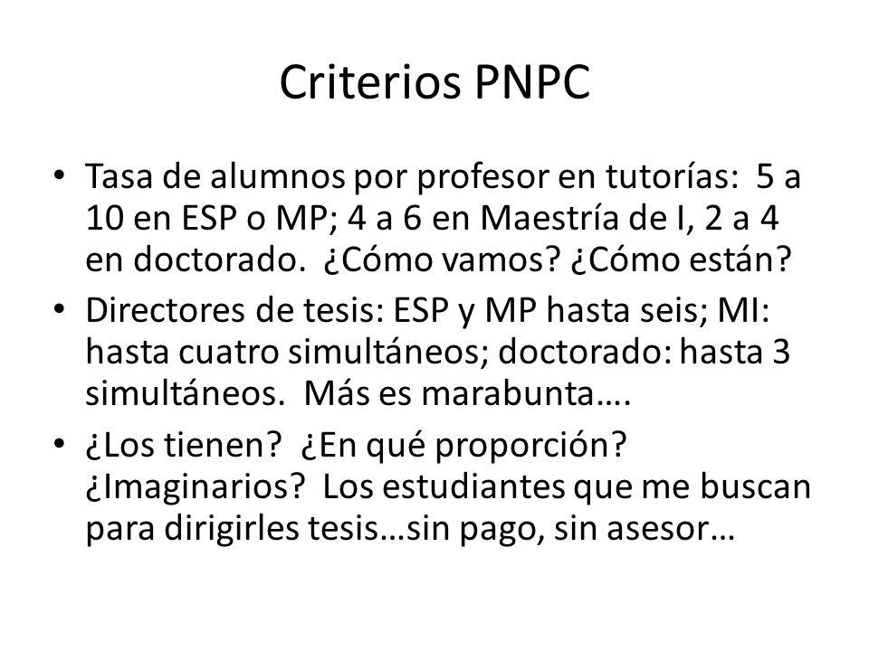 Criterios PNPC Tasa de alumnos por profesor en tutorías: 5 a 10 en ESP o MP; 4 a 6 en Maestría de I, 2 a 4 en doctorado.
