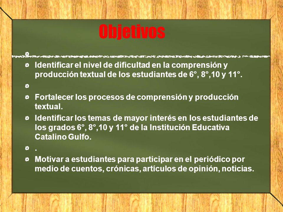 Objetivos Identificar el nivel de dificultad en la comprensión y producción textual de los estudiantes de 6°, 8°,10 y 11°. Fortalecer los procesos de