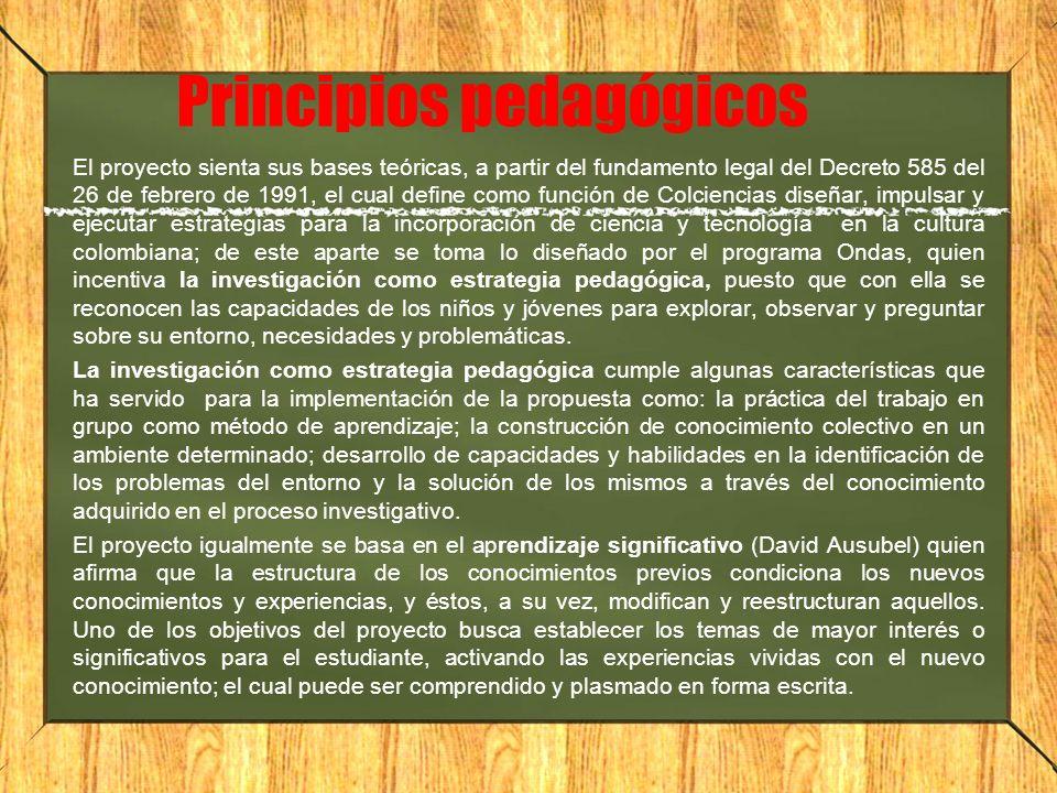 Principios pedagógicos El proyecto sienta sus bases teóricas, a partir del fundamento legal del Decreto 585 del 26 de febrero de 1991, el cual define