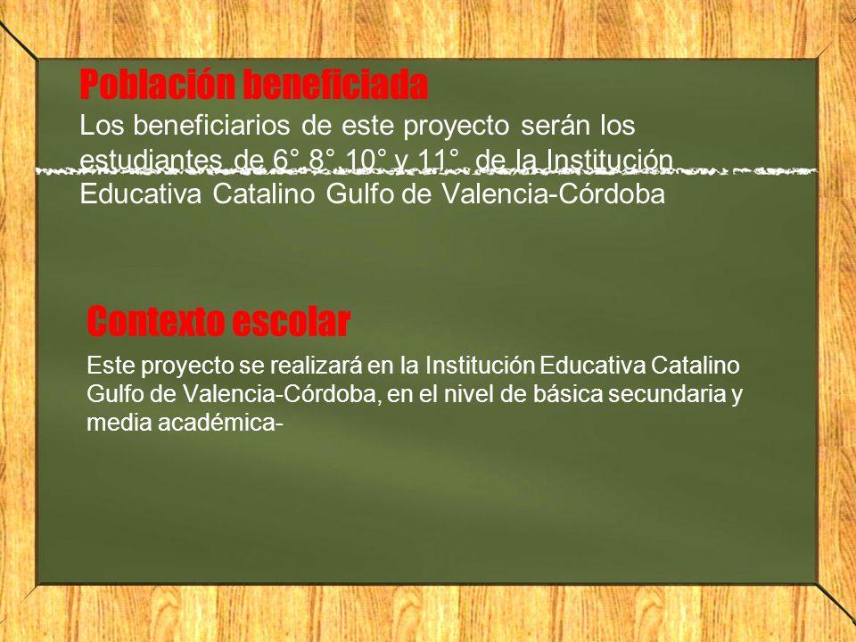 Población beneficiada Los beneficiarios de este proyecto serán los estudiantes de 6°,8°,10° y 11° de la Institución Educativa Catalino Gulfo de Valenc