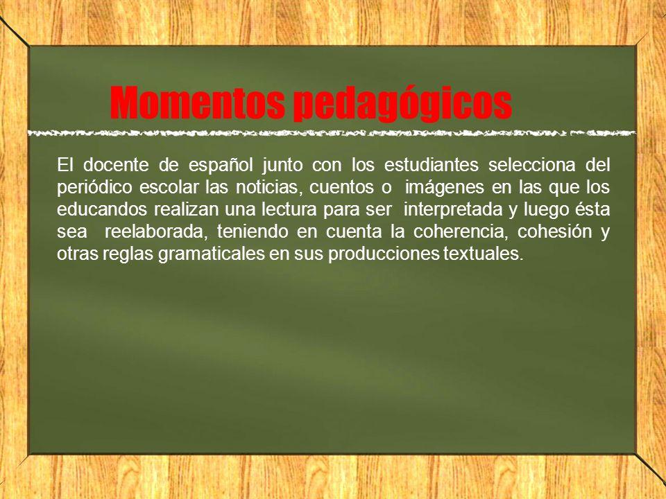 Momentos pedagógicos El docente de español junto con los estudiantes selecciona del periódico escolar las noticias, cuentos o imágenes en las que los