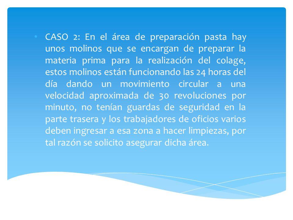 CASO 2: En el área de preparación pasta hay unos molinos que se encargan de preparar la materia prima para la realización del colage, estos molinos es