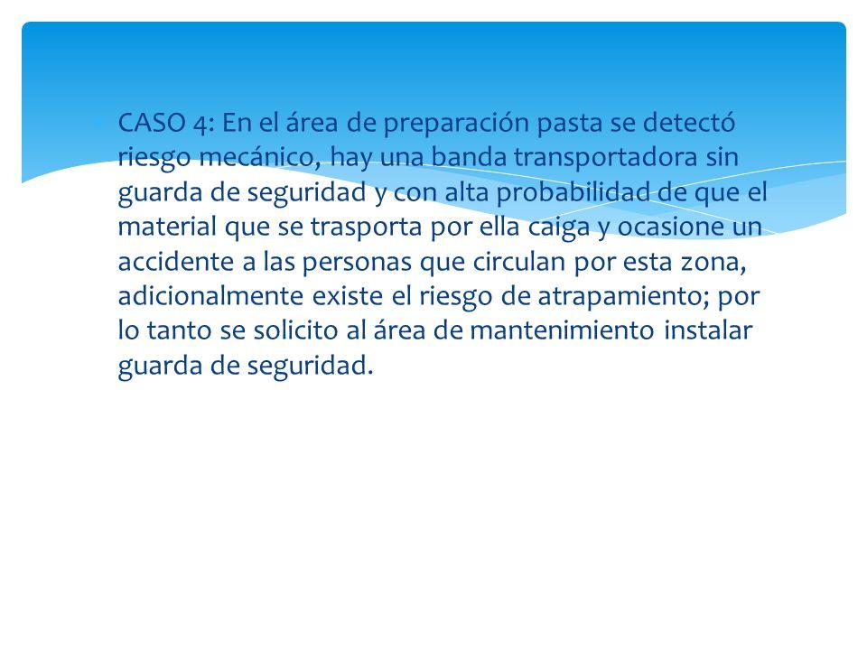 CASO 4: En el área de preparación pasta se detectó riesgo mecánico, hay una banda transportadora sin guarda de seguridad y con alta probabilidad de qu