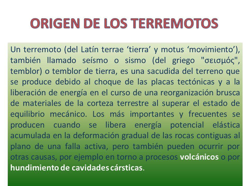 Un terremoto (del Latín terrae tierra y motus movimiento), también llamado seísmo o sismo (del griego