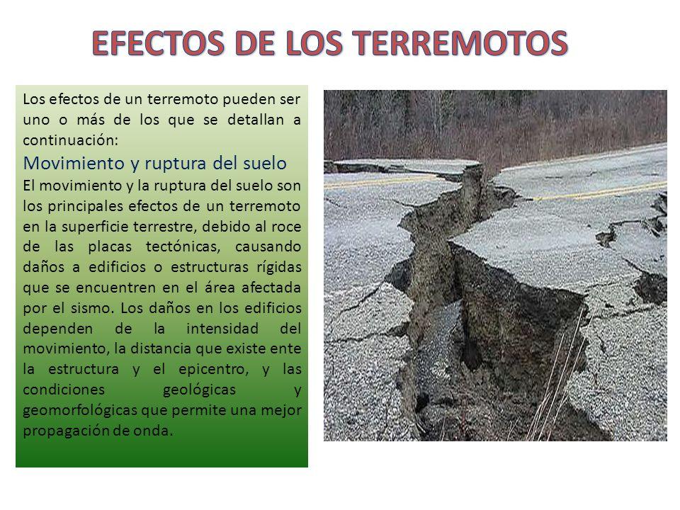 Los efectos de un terremoto pueden ser uno o más de los que se detallan a continuación: Movimiento y ruptura del suelo El movimiento y la ruptura del