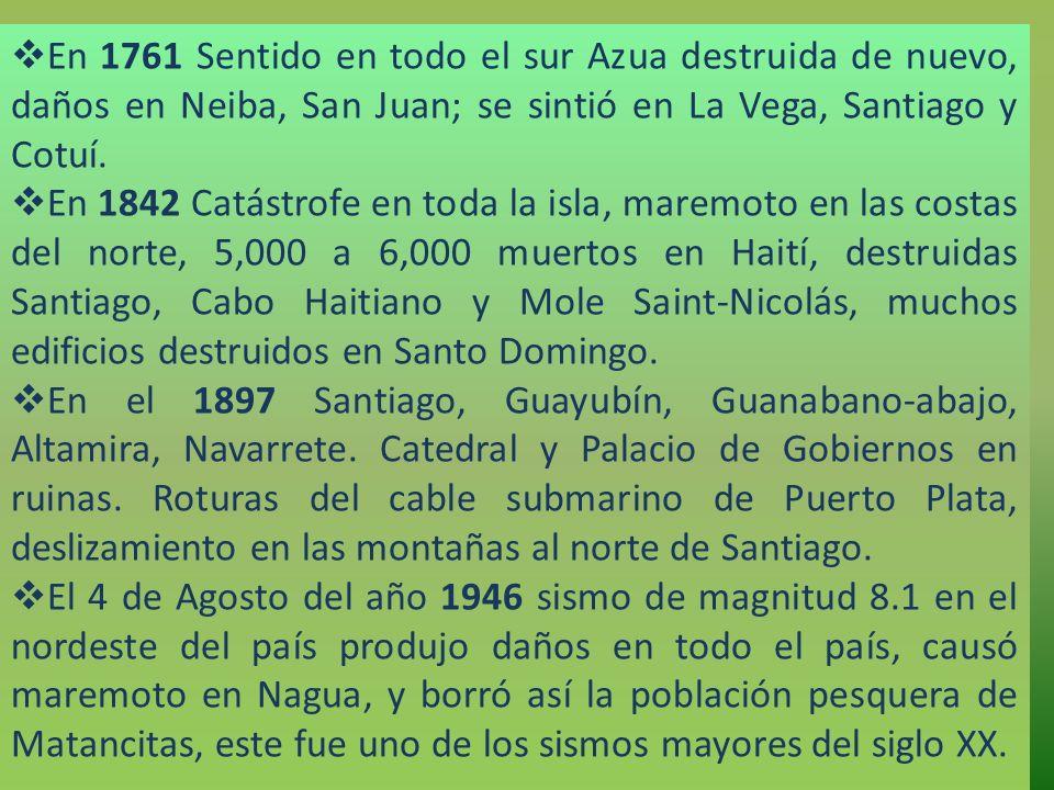 En 1761 Sentido en todo el sur Azua destruida de nuevo, daños en Neiba, San Juan; se sintió en La Vega, Santiago y Cotuí. En 1842 Catástrofe en toda l