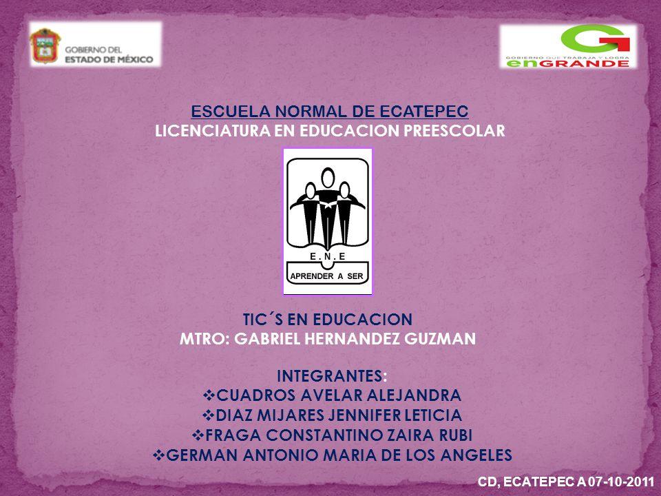 ESCUELA NORMAL DE ECATEPEC LICENCIATURA EN EDUCACION PREESCOLAR TIC´S EN EDUCACION MTRO: GABRIEL HERNANDEZ GUZMAN INTEGRANTES: CUADROS AVELAR ALEJANDRA DIAZ MIJARES JENNIFER LETICIA FRAGA CONSTANTINO ZAIRA RUBI GERMAN ANTONIO MARIA DE LOS ANGELES CD, ECATEPEC A 07-10-2011