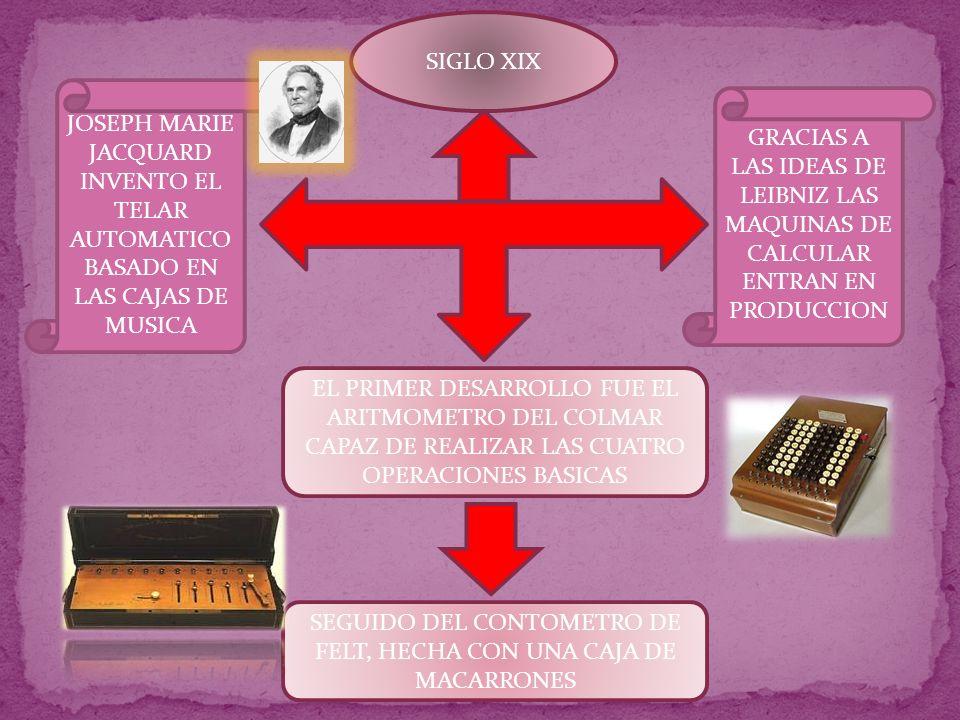 SIGLO XIX GRACIAS A LAS IDEAS DE LEIBNIZ LAS MAQUINAS DE CALCULAR ENTRAN EN PRODUCCION JOSEPH MARIE JACQUARD INVENTO EL TELAR AUTOMATICO BASADO EN LAS CAJAS DE MUSICA EL PRIMER DESARROLLO FUE EL ARITMOMETRO DEL COLMAR CAPAZ DE REALIZAR LAS CUATRO OPERACIONES BASICAS SEGUIDO DEL CONTOMETRO DE FELT, HECHA CON UNA CAJA DE MACARRONES