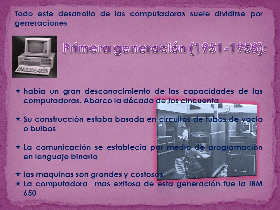 Todo este desarrollo de las computadoras suele dividirse por generaciones había un gran desconocimiento de las capacidades de las computadoras. Abarco