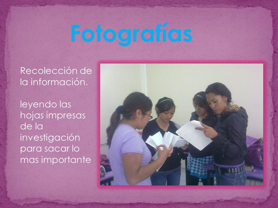 Recolección de la información. leyendo las hojas impresas de la investigación para sacar lo mas importante Fotografías