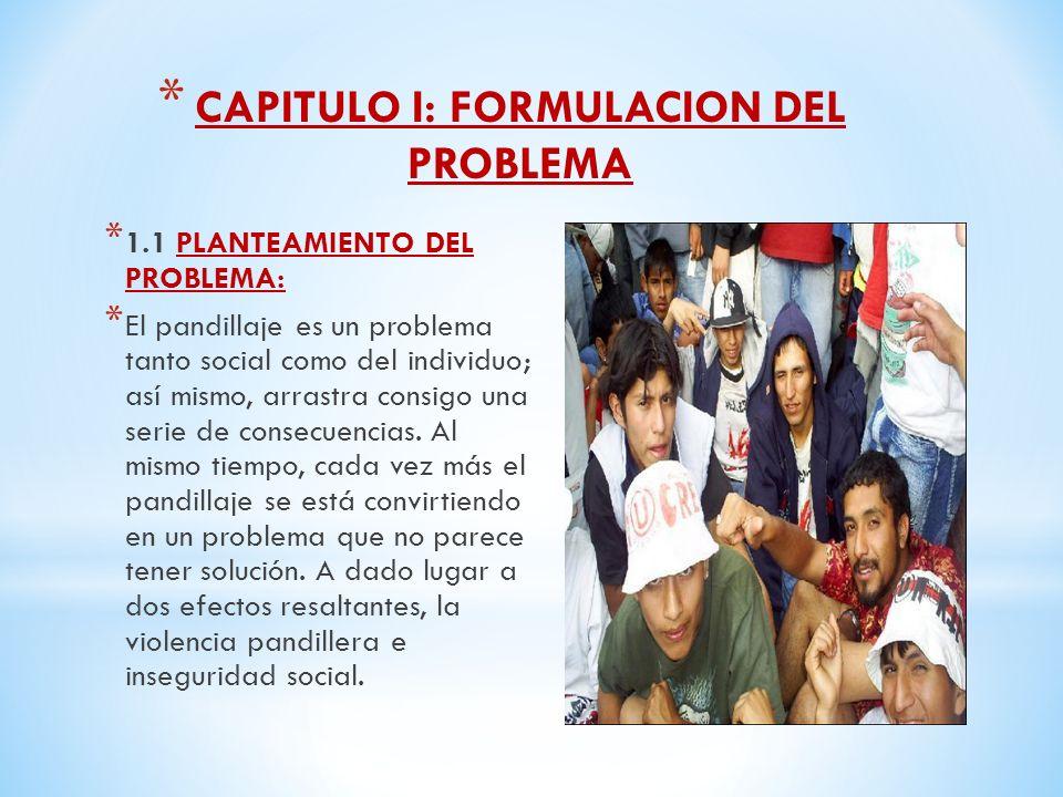 * CAPITULO I: FORMULACION DEL PROBLEMA * 1.1 PLANTEAMIENTO DEL PROBLEMA: * El pandillaje es un problema tanto social como del individuo; así mismo, arrastra consigo una serie de consecuencias.