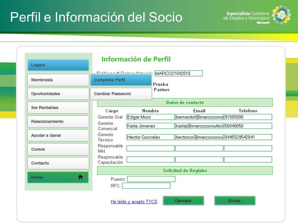 Perfil e Información del Socio
