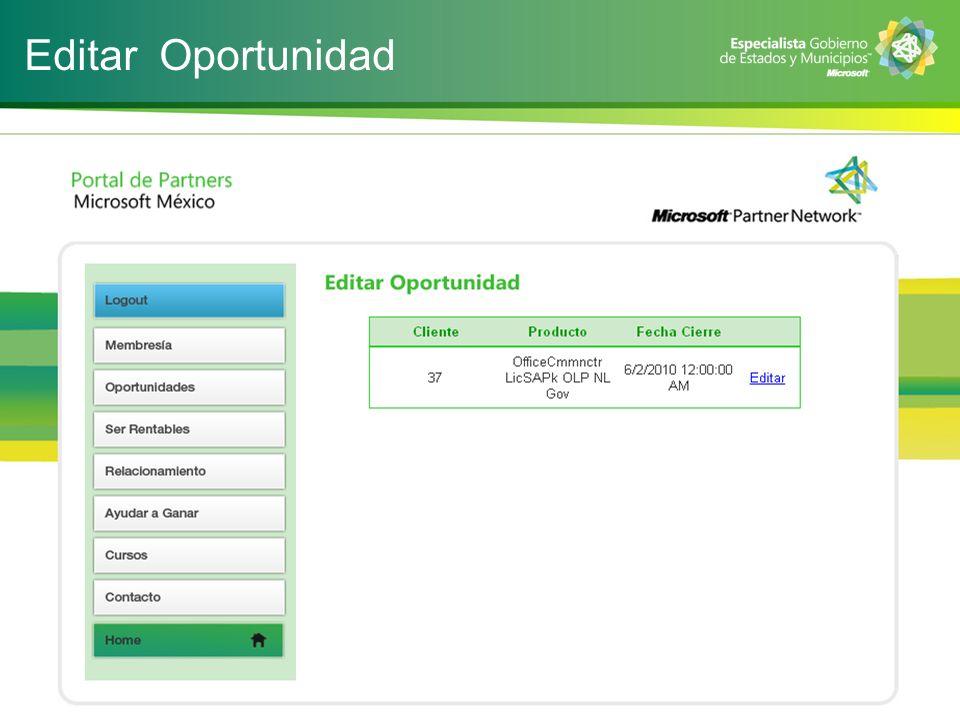 Editar Oportunidad