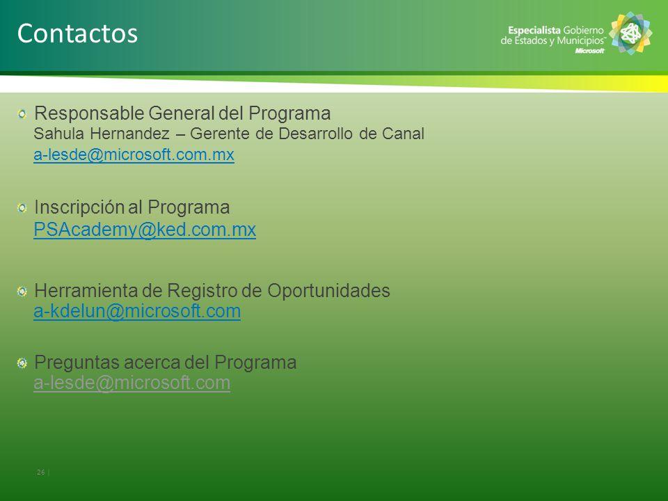 Responsable General del Programa Sahula Hernandez – Gerente de Desarrollo de Canal a-lesde@microsoft.com.mx Inscripción al Programa PSAcademy@ked.com.