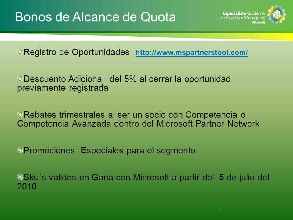 Bonos de Alcance de Quota Registro de Oportunidades http://www.mspartnerstool.com/ Descuento Adicional del 5% al cerrar la oportunidad previamente reg