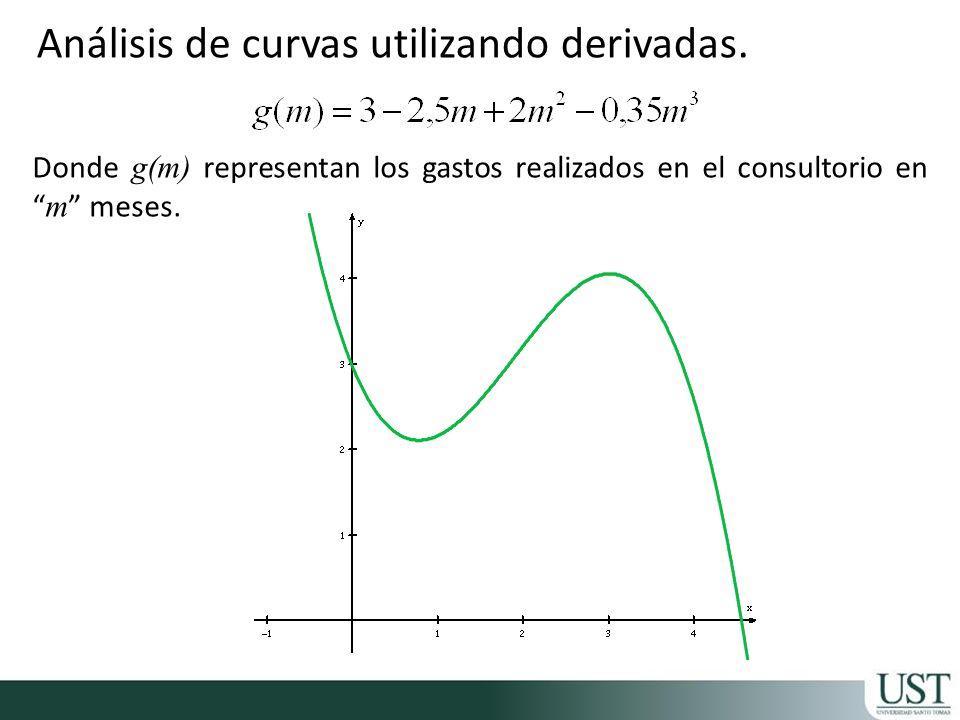 Análisis de curvas utilizando derivadas. Donde g(m) representan los gastos realizados en el consultorio en m meses.