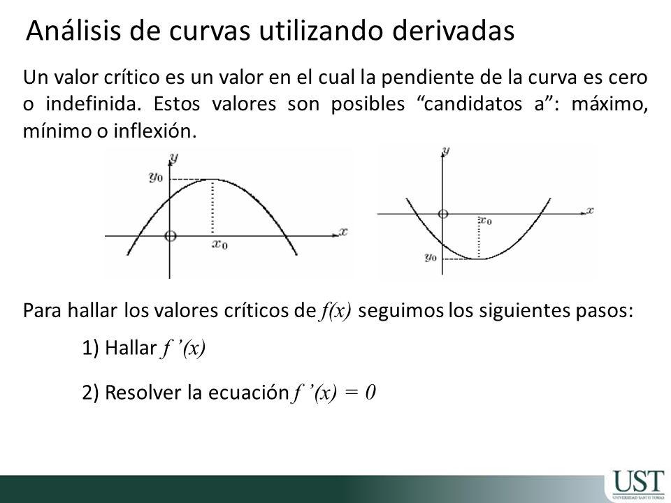 Un valor crítico es un valor en el cual la pendiente de la curva es cero o indefinida. Estos valores son posibles candidatos a: máximo, mínimo o infle