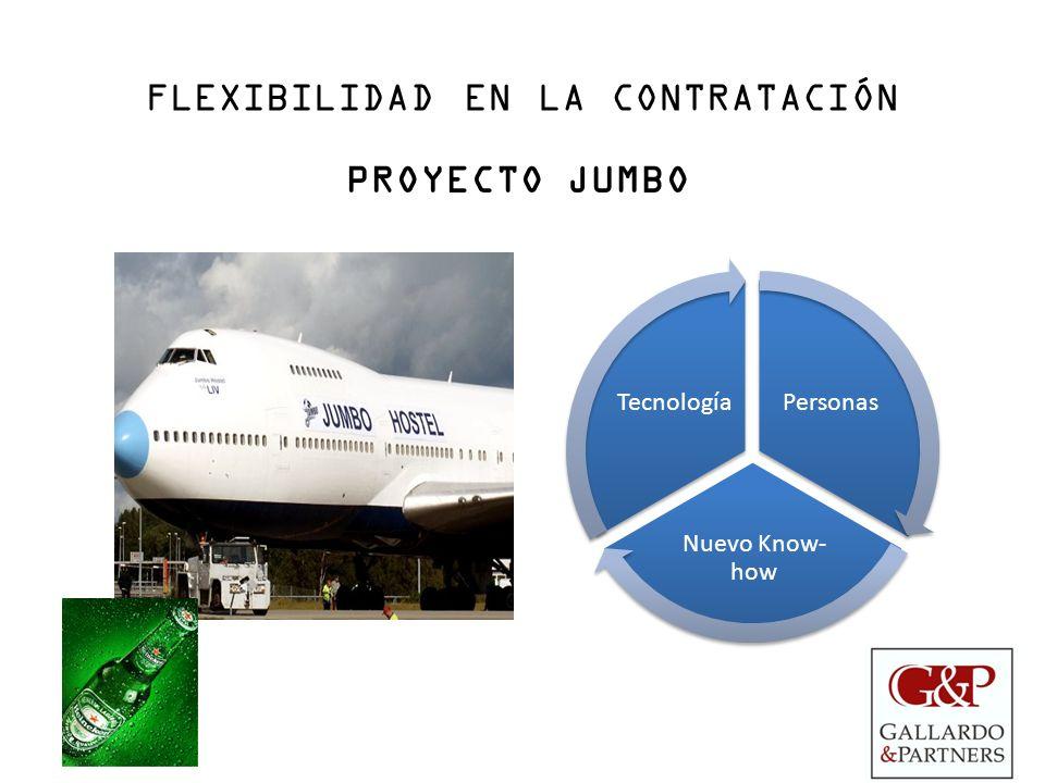 FLEXIBILIDAD EN LA CONTRATACIÓN PROYECTO JUMBO Personas Nuevo Know- how Tecnología