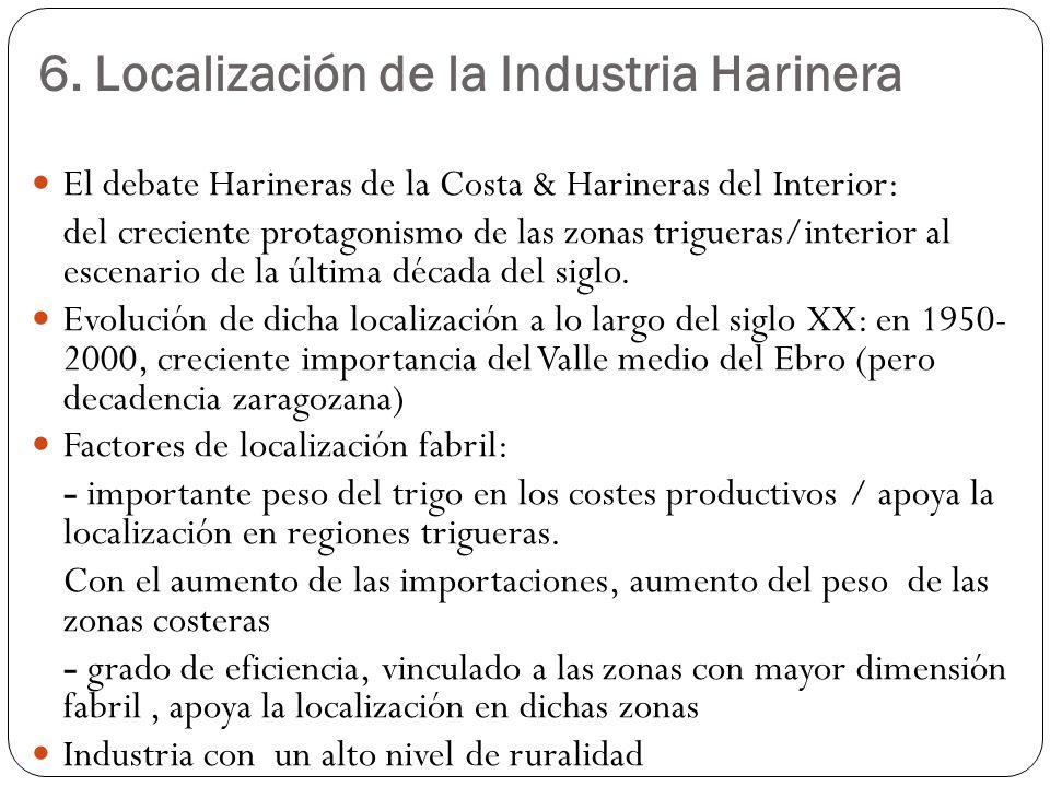 6. Localización de la Industria Harinera El debate Harineras de la Costa & Harineras del Interior: del creciente protagonismo de las zonas trigueras/i