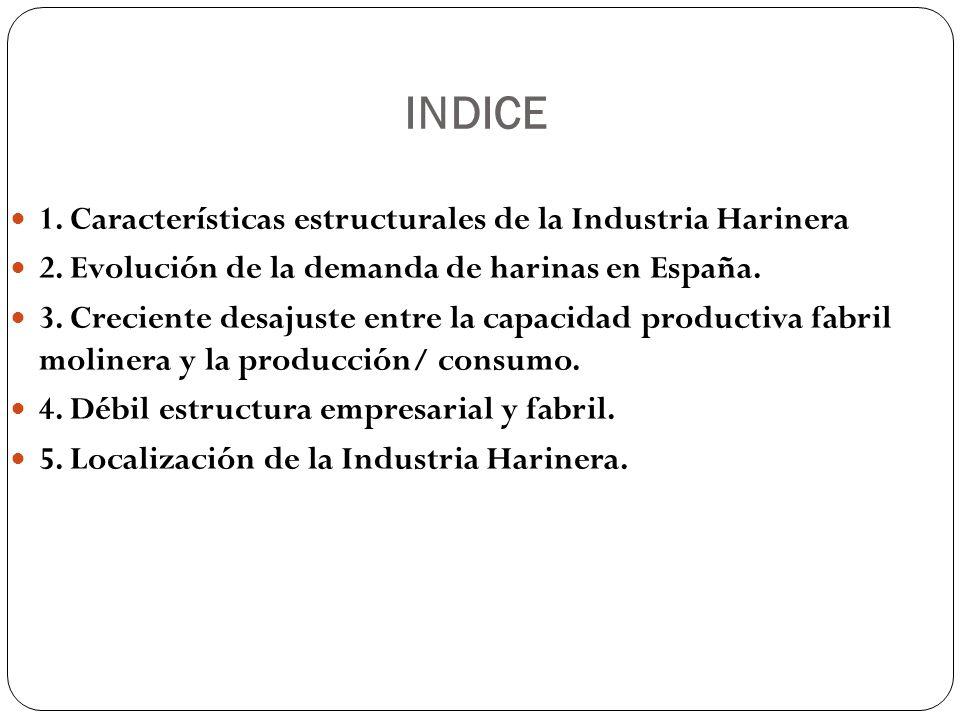 INDICE 1. Características estructurales de la Industria Harinera 2.