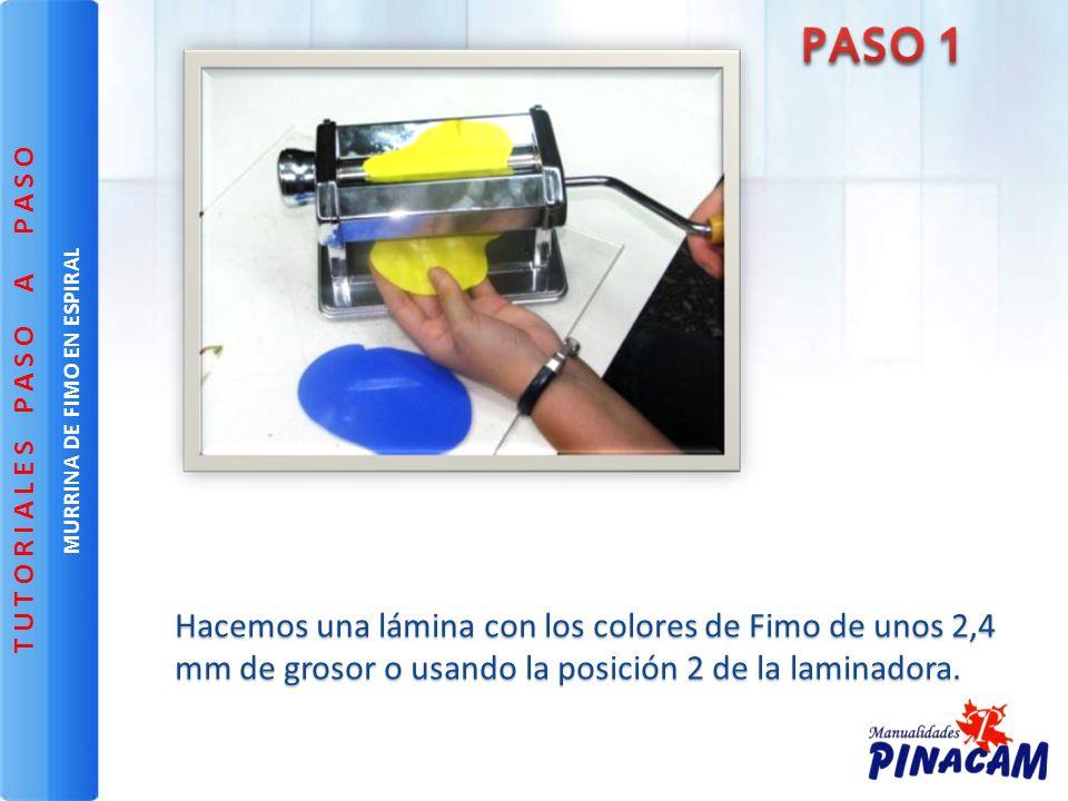Hacemos una lámina con los colores de Fimo de unos 2,4 mm de grosor o usando la posición 2 de la laminadora. MURRINA DE FIMO EN ESPIRAL T U T O R I A