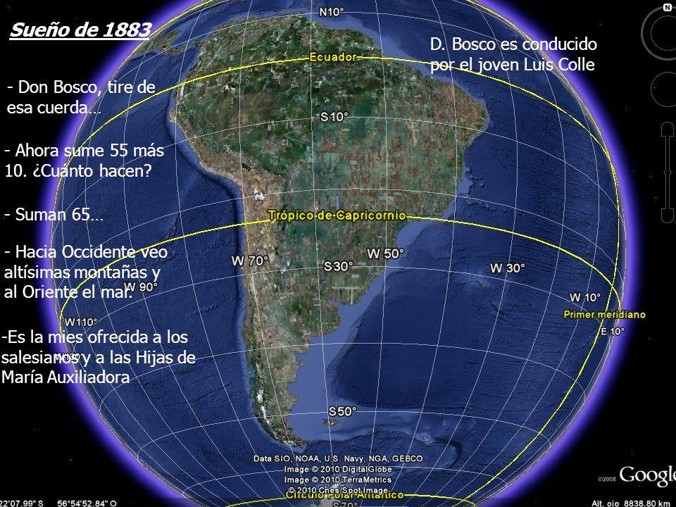 - Don Bosco, tire de esa cuerda… - Ahora sume 55 más 10. ¿Cuánto hacen? - Suman 65… - Hacia Occidente veo altísimas montañas y al Oriente el mar. -Es
