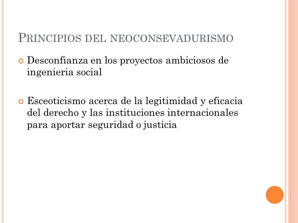 P RINCIPIOS DEL NEOCONSEVADURISMO Desconfianza en los proyectos ambiciosos de ingenieria social Esceoticismo acerca de la legitimidad y eficacia del d