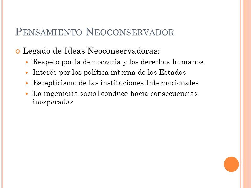 P ENSAMIENTO N EOCONSERVADOR Legado de Ideas Neoconservadoras: Respeto por la democracia y los derechos humanos Interés por los política interna de lo