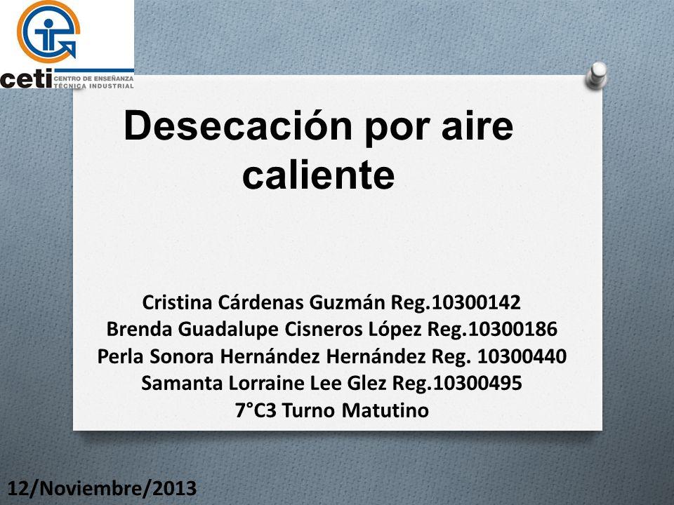 Desecación por aire caliente Cristina Cárdenas Guzmán Reg.10300142 Brenda Guadalupe Cisneros López Reg.10300186 Perla Sonora Hernández Hernández Reg.