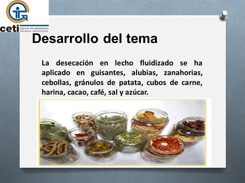 Desarrollo del tema La desecación en lecho fluidizado se ha aplicado en guisantes, alubias, zanahorias, cebollas, gránulos de patata, cubos de carne, harina, cacao, café, sal y azúcar.