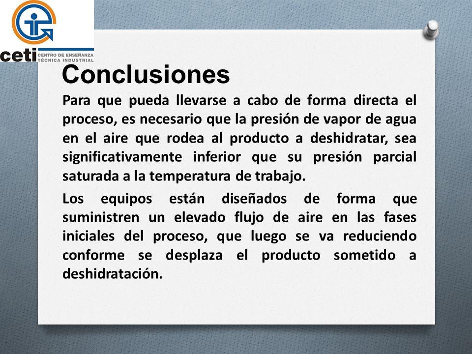 Conclusiones Para que pueda llevarse a cabo de forma directa el proceso, es necesario que la presión de vapor de agua en el aire que rodea al producto a deshidratar, sea significativamente inferior que su presión parcial saturada a la temperatura de trabajo.