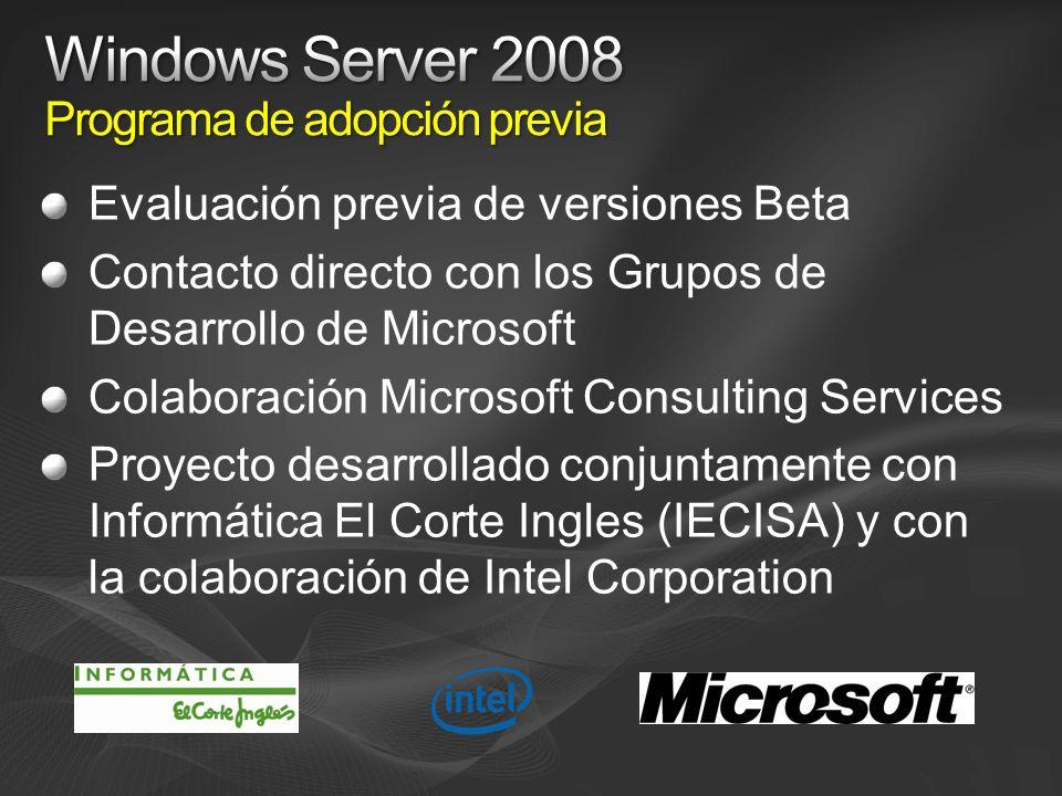 Evaluación previa de versiones Beta Contacto directo con los Grupos de Desarrollo de Microsoft Colaboración Microsoft Consulting Services Proyecto desarrollado conjuntamente con Informática El Corte Ingles (IECISA) y con la colaboración de Intel Corporation