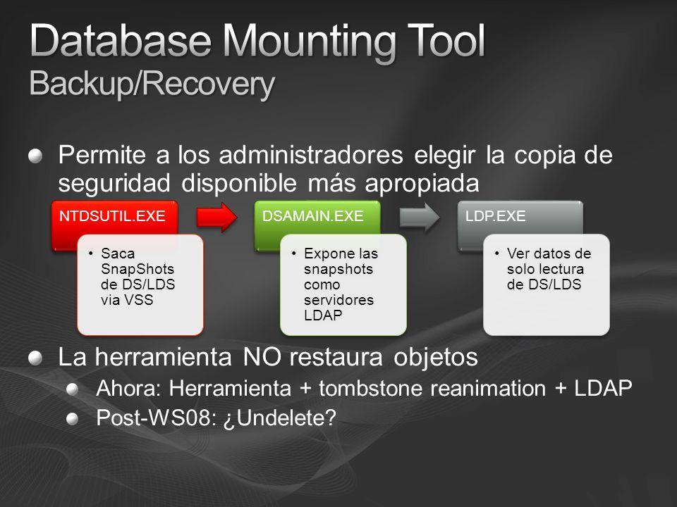 Permite a los administradores elegir la copia de seguridad disponible más apropiada La herramienta NO restaura objetos Ahora: Herramienta + tombstone reanimation + LDAP Post-WS08: ¿Undelete.