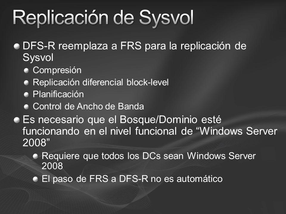 DFS-R reemplaza a FRS para la replicación de Sysvol Compresión Replicación diferencial block-level Planificación Control de Ancho de Banda Es necesari