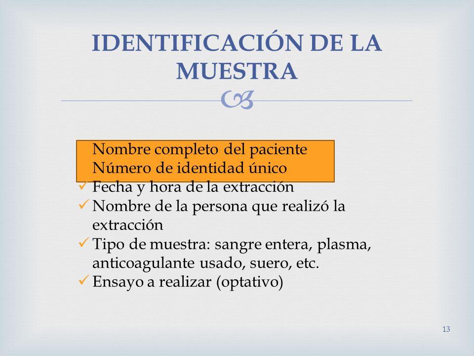 IDENTIFICACIÓN DE LA MUESTRA Nombre completo del paciente Número de identidad único Fecha y hora de la extracción Nombre de la persona que realizó la