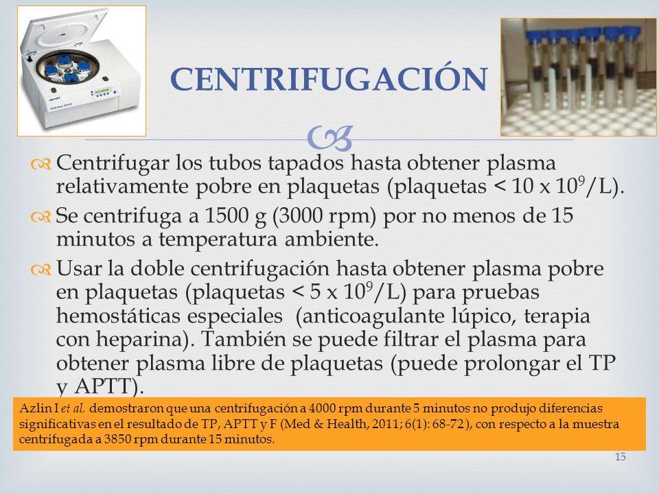 Centrifugar los tubos tapados hasta obtener plasma relativamente pobre en plaquetas (plaquetas < 10 x 10 9 /L). Se centrifuga a 1500 g (3000 rpm) por