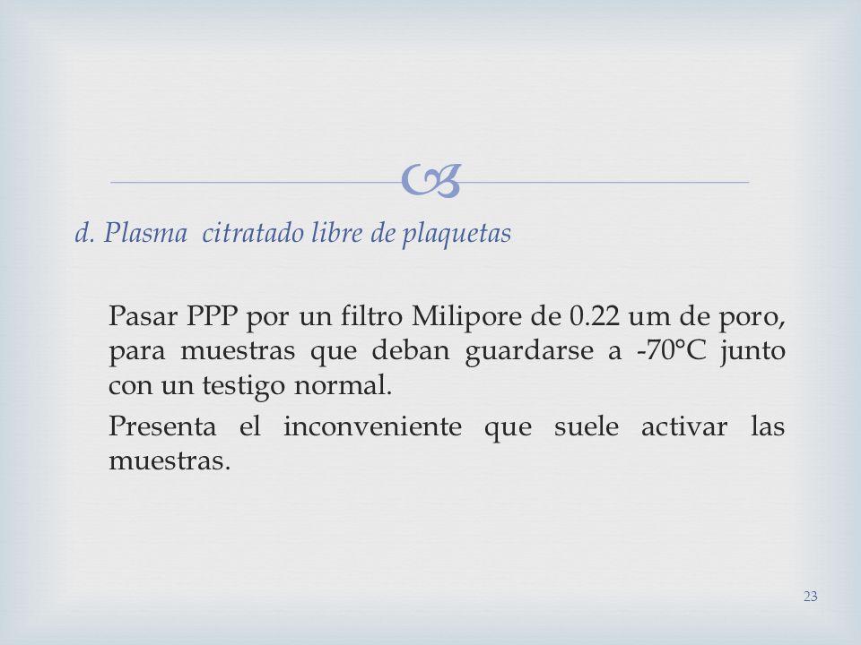 d. Plasma citratado libre de plaquetas Pasar PPP por un filtro Milipore de 0.22 um de poro, para muestras que deban guardarse a -70°C junto con un tes