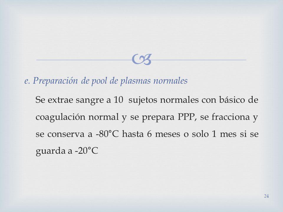 e. Preparación de pool de plasmas normales Se extrae sangre a 10 sujetos normales con básico de coagulación normal y se prepara PPP, se fracciona y se