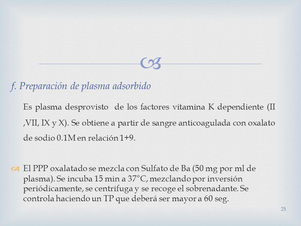 f. Preparación de plasma adsorbido Es plasma desprovisto de los factores vitamina K dependiente (II,VII, IX y X). Se obtiene a partir de sangre antico