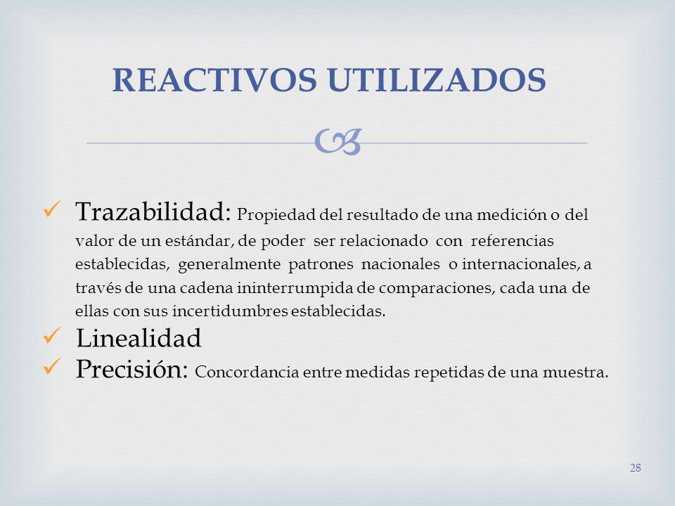 REACTIVOS UTILIZADOS 28 Trazabilidad: Propiedad del resultado de una medición o del valor de un estándar, de poder ser relacionado con referencias est
