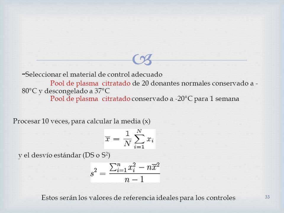 33 - Seleccionar el material de control adecuado Pool de plasma citratado de 20 donantes normales conservado a - 80°C y descongelado a 37°C Pool de pl