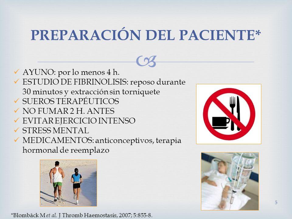 PREPARACIÓN DEL PACIENTE* AYUNO: por lo menos 4 h. ESTUDIO DE FIBRINOLISIS: reposo durante 30 minutos y extracción sin torniquete SUEROS TERAPÉUTICOS