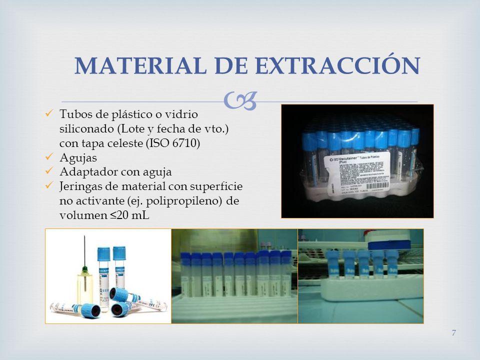 MATERIAL DE EXTRACCIÓN Tubos de plástico o vidrio siliconado (Lote y fecha de vto.) con tapa celeste (ISO 6710) Agujas Adaptador con aguja Jeringas de