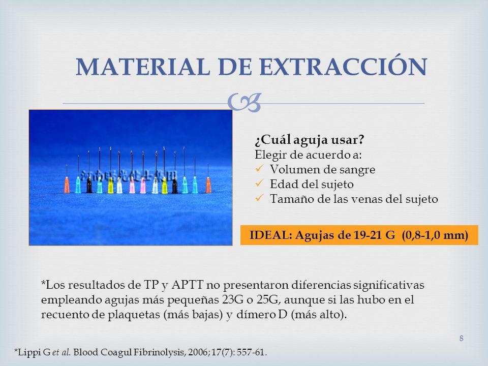MATERIAL DE EXTRACCIÓN 8 ¿Cuál aguja usar? Elegir de acuerdo a: Volumen de sangre Edad del sujeto Tamaño de las venas del sujeto IDEAL: Agujas de 19-2