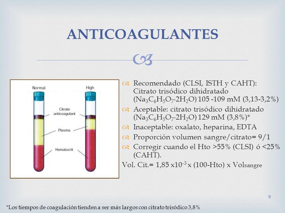 Citrato y mezcla anti-plaquetas: La mezcla bufferada CTAD está compuesta por citrato trisódico/ácido cítrico (0,105 M), teofilina (15 mM), adenosina (3,7 mM) y dipiridamol (0,198 M), con pH 5,32-5,38.