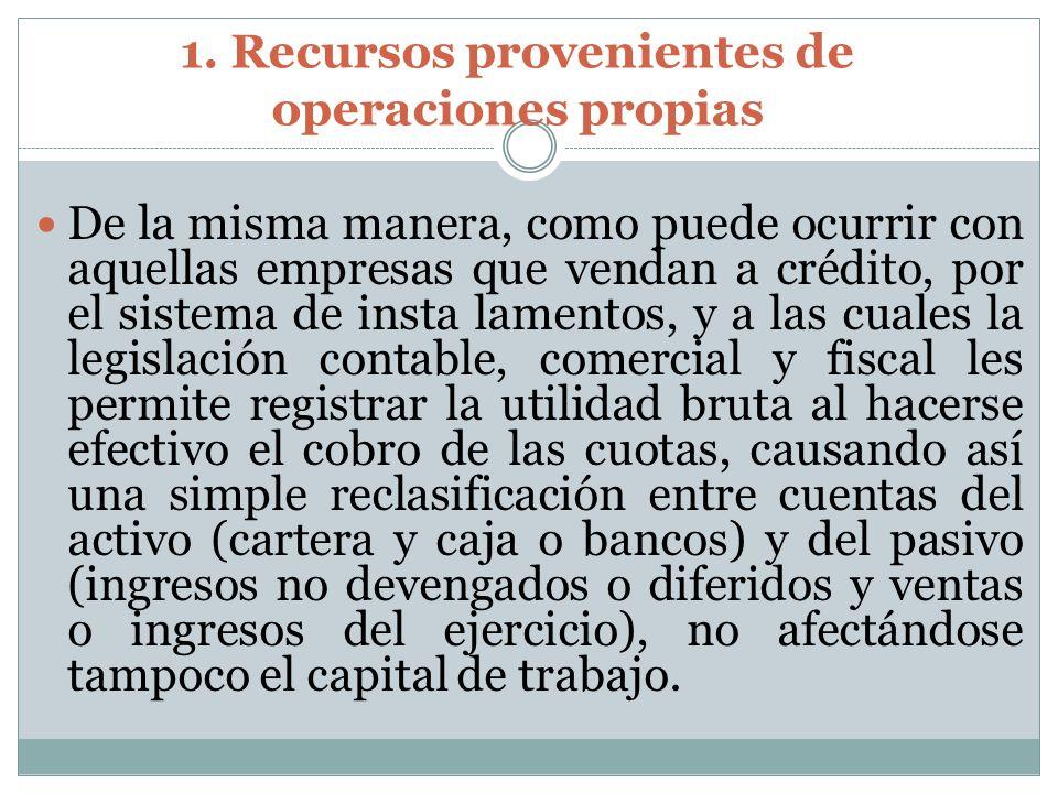 1. Recursos provenientes de operaciones propias De la misma manera, como puede ocurrir con aquellas empresas que vendan a crédito, por el sistema de i