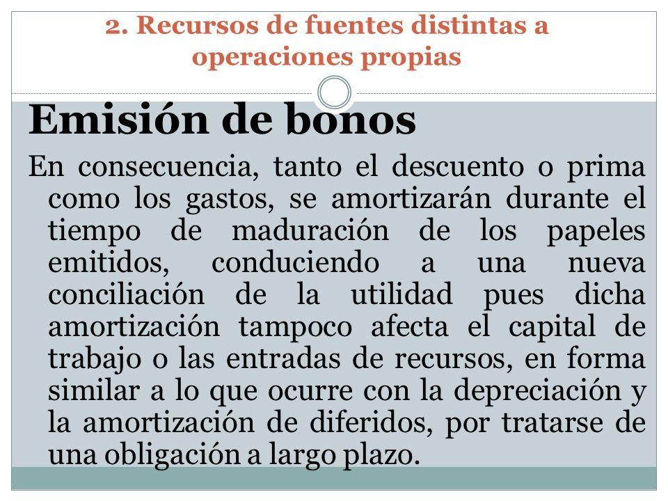 2. Recursos de fuentes distintas a operaciones propias Emisión de bonos En consecuencia, tanto el descuento o prima como los gastos, se amortizarán du